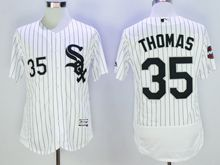 mens majestic chicago white sox #35 frank thomas white stripe Flex Base (2005world cup mark) jersey