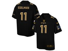 Mens Nfl New England Patriots #11 Julian Edelman Pro Line Black Gold Collection Jersey