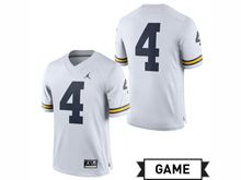 Mens Jordan University Of Michigan Football White #4 Game Jersey