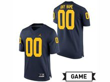 Mens Jordan University Of Michigan Custom Made Football Navy Game Jersey