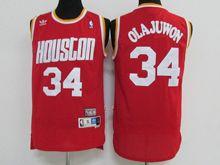 Mens NBA Houston Rockets #34 OLAJUWON RED Hardwood Throwback JERSESY