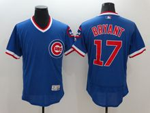 mens majestic chicago cubs #17 kris bryant blue pullover Flex Base jersey