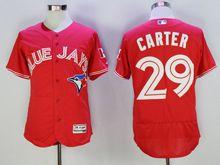 mens majestic toronto blue jays #29 joe carter red Flex Base jersey