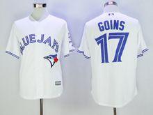 mens majestic toronto blue jays #17 ryan goins white Flex Base jersey