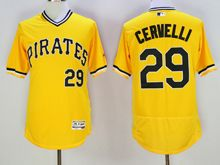 mens majestic pittsburgh pirates #29 francisco cervelli yellow pullover Flex Base jersey