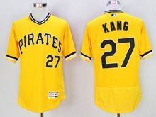 mens majestic pittsburgh pirates #27 jung-ho kang yellow pullover Flex Base jersey