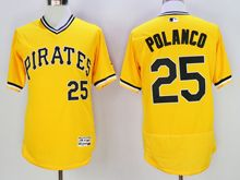 mens majestic pittsburgh pirates #25 gregory polanco yellow pullover Flex Base jersey
