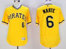 mens majestic pittsburgh pirates #6 starling marte yellow pullover Flex Base jersey