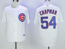 Mens Mlb Chicago Cubs #54 Aroldis Chapman White Stripe Throwbacks Jersey