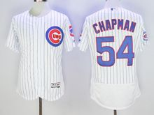 mens majestic chicago cubs #54 aroldis chapman white stripe Flex Base jersey