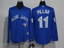 Mens Mlb Toronto Blue Jays #11 Kevin Pillar Blue Long Sleeve Jersey