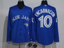 Mens Mlb Toronto Blue Jays #10 Edwin Encarnacion Blue Long Sleeve Jersey