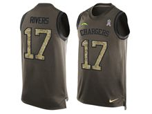 mens nfl san diego chargers #17 philip rivers Green salute to service limited tank top jersey