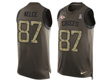 mens nfl kansas city chiefs #87 travis kelce Green salute to service limited tank top jersey