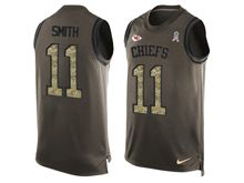 mens nfl kansas city chiefs #11 alex smith Green salute to service limited tank top jersey