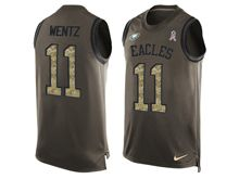 mens nfl philadelphia eagles #11 carson wentz Green salute to service limited tank top jersey