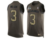 mens nfl seattle seahawks #3 russell wilson Green salute to service limited tank top jersey