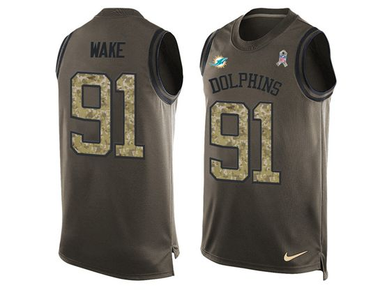 mens nfl miami dolphins #91 cameron wake Green salute to service limited tank top jersey