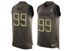 mens nfl Houston Texans #99 JJ Watt green salute to service limited tank top jersey