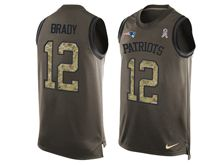 mens nfl new england patriots #12 tom brady Green salute to service limited tank top jersey