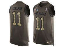 mens nfl new england patriots #11 julian edelman Green salute to service limited tank top jersey(sn)