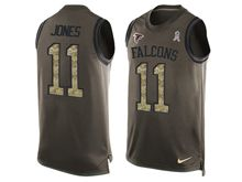 mens nfl atlanta falcons #11 julio jones Green salute to service limited tank top jersey