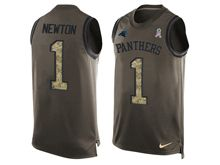 mens nfl carolina panthers #1 cam newton Green salute to service limited tank top jersey