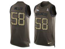 mens nfl denver broncos #58 von miller Green salute to service limited tank top jersey