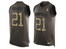 mens nfl dallas cowboys #21 ezekiel elliott Green salute to service limited tank top jersey(sn)