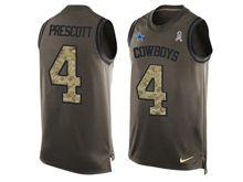 mens nfl dallas cowboys #4 dak prescott Green salute to service limited tank top jersey
