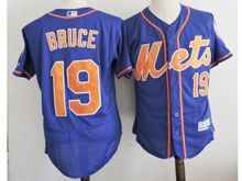 mens majestic new york mets #19 jay bruce blue (orange) Flex Base jersey