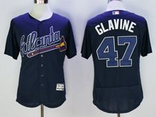 mens majestic atlanta braves #47 tom glavine navy blue Flex Base jersey