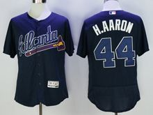 mens majestic atlanta braves #44 hank aaron navy blue Flex Base jersey