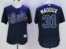 mens majestic atlanta braves #31 greg maddux navy blue Flex Base jersey