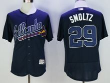 mens majestic atlanta braves #29 john smoltz navy blue Flex Base jersey