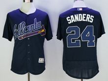 mens majestic atlanta braves #24 deion sanders navy blue Flex Base jersey