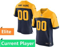 Mens Green Bay Packers Blue Yellow Alternate Game Current Player Jersey