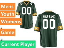 Mens Women Youth Nfl Green Bay Packers Green Game Current Player Jersey