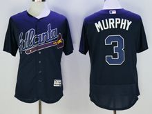 Mens Majestic Atlanta Braves #3 Dale Murphy Navy Blue Flex Base Jersey