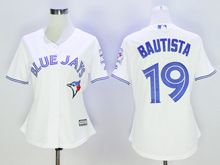 Women Majestic Toronto Blue Jays #19 Jose Bautista White Jersey