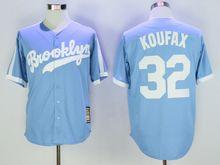 Mens Majestic Los Angeles Dodgers #32 Sandy Koufax Light Blue Throwbacks Jersey