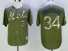 Mens Mlb New York Mets #34 Noah Syndergaard Green Fashion 2016 Memorial Day Jersey