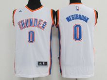Mens Nba Oklahoma City Thunder #0 Russell Westbrook White Jersey