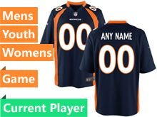 Mens Women Youth Nfl Denver Broncos Blue Game Current Player Jersey
