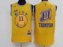Mens Adidas Golden State Warriors #11 Klay Thompson Yellow Hardwood Classics Swingman Jersey