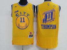 Mens Adidas Golden State Warriors #11 Klay Thompson Yellow Hardwood Classics Swingman Jersey