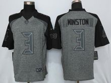 Mens   Tampa Bay Buccaneers #3 Jameis Winston Black Gray Gridiron Limited Jersey