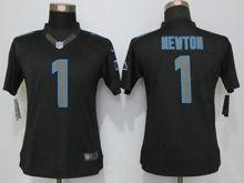 Women   Carolina Panthers #1 Cam Newton Black Impact Limited Jerseys