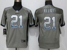 Youth   Dallas Cowboys #21 Ezekiel Elliott Gray Drift Fashion Game Jersey