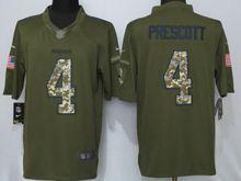 Mens   Dallas Cowboys #4 Dak Prescott Green Salute To Service Limited Jersey